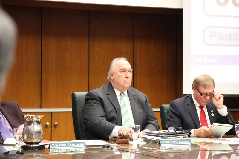 John Engler at the final MSU Board of Trustees meeting of the 2017/18 school year.
