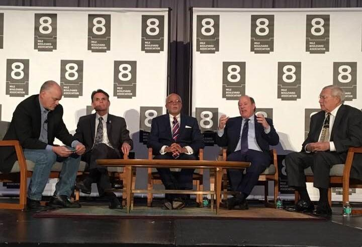 "Metro Detroit's ""Big Four"" regional leaders at the 8 Mile Boulevard Association meeting. From left: Moderator Ron Fournier, Macomb County Executive Mark Hackel, Wayne County Executive Warren Evans, Detroit Mayor Mike Duggan, Oakland County Executive L. Br"