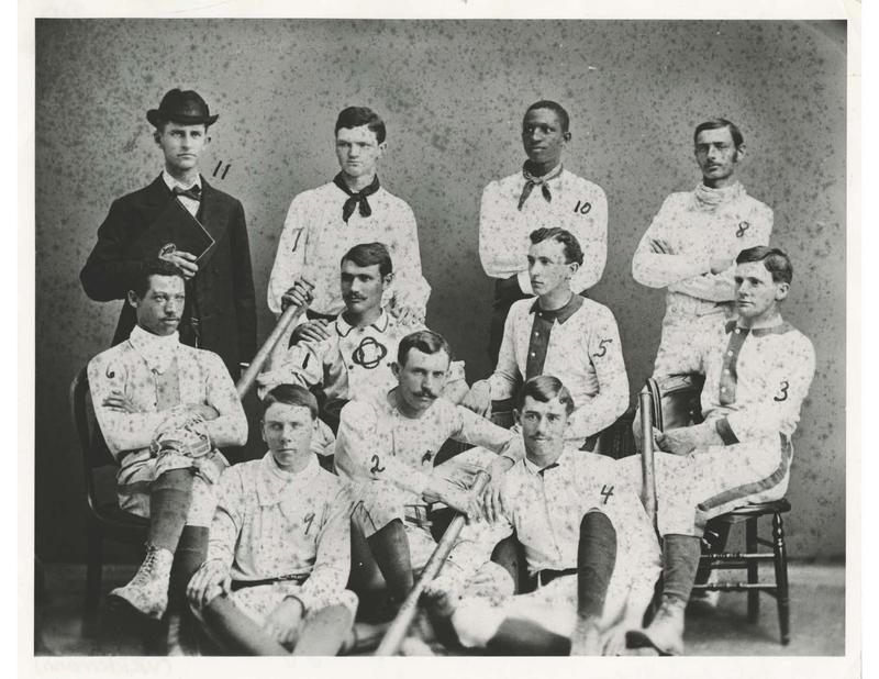 A photo from 1881 of Moses Fleetwood Walker with the Oberlin team