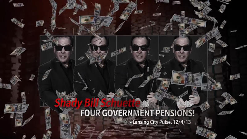 "a frame from the ""shady schuette"" ad with bill schuette in sunglasses"