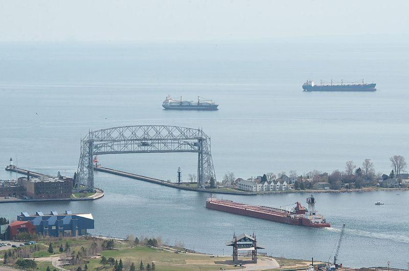 A tug and barge leaving Duluth port