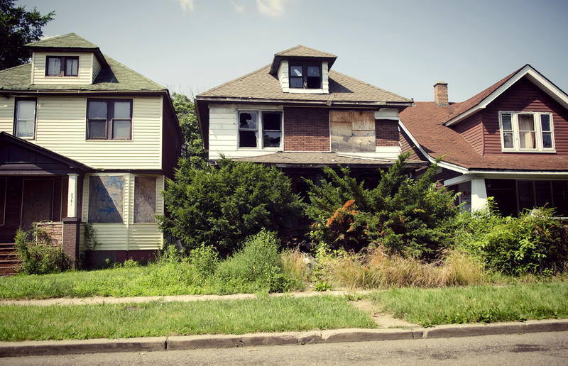 An abandoned and boarded up house in Detroit