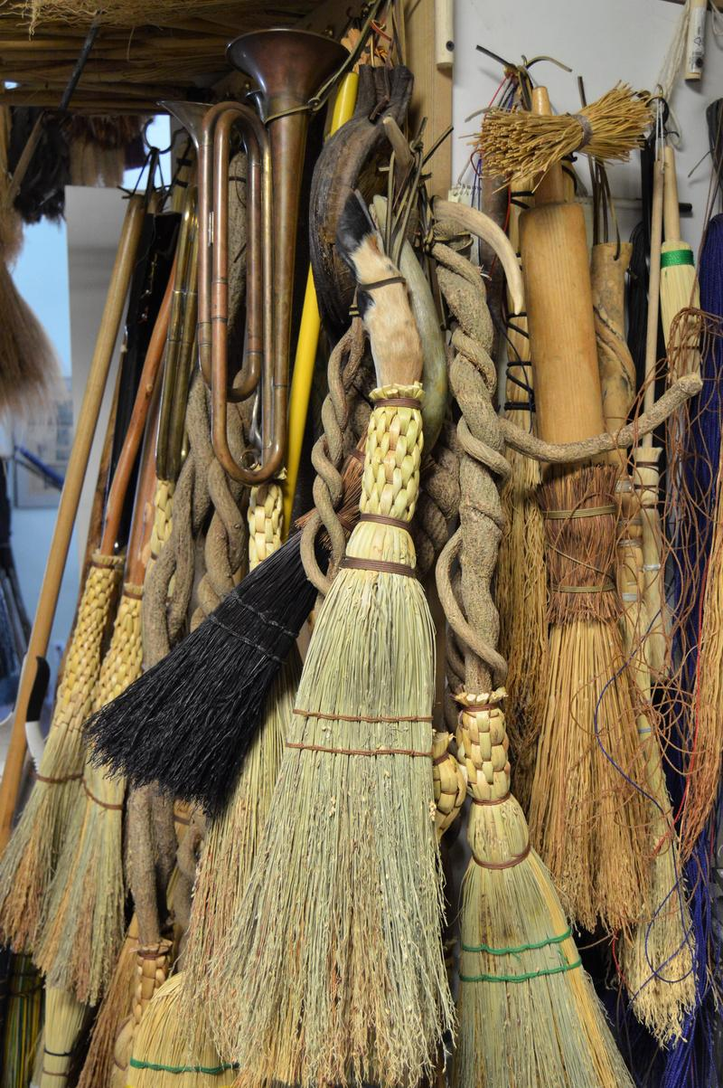 Henry Tschetter uses branches, golf clubs, gun stocks, deer hooves, rolling pins, and many other items as broomsticks.