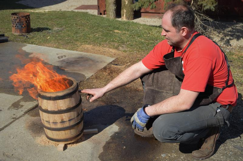 Charring a barrel is a delicate, but critical moment in making a barrel for distillers.