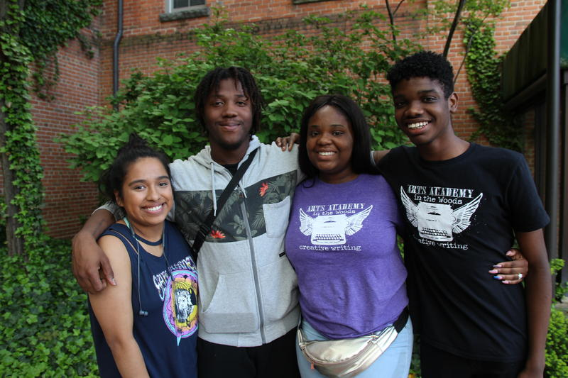 Members of the Arts Academy in the Woods slam poetry team include (l-r), Rebecca Kahn, James Scarborough, team captain Ciera Dozier, and Kyle Starks.
