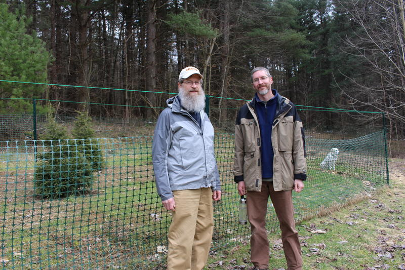 Charles Bier, senior director of conservation science and Andy Zadnik, director of land stewardship, both with WPC, stand outside the insectary.