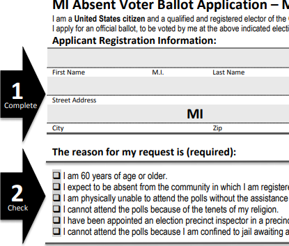 Michigan absentee voter form
