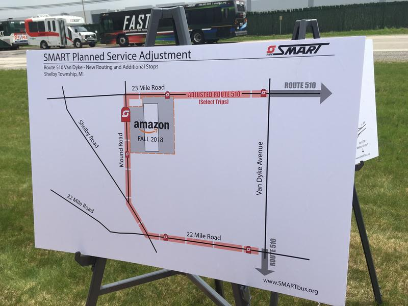 A poster shows how an adjusted SMART route will serve an Amazon warehouse in Shelby Township starting in September.