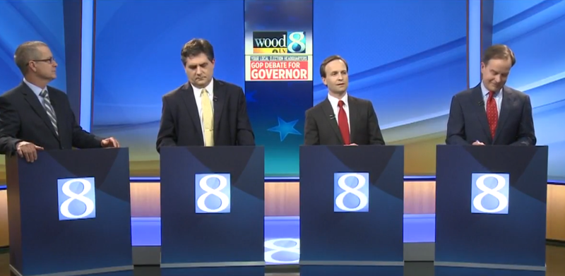 The four Republican governor candidates on the stage together for the debate