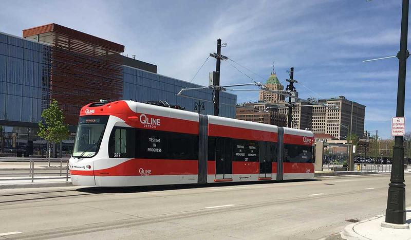 The QLine on Woodward Ave.