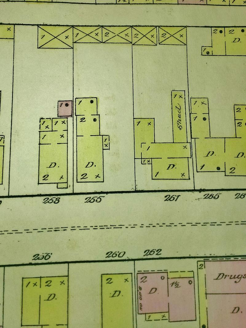 The Sanborn insurance map, showing the original location of Ulysses S. Grant's house at 253 E. Fort Street.