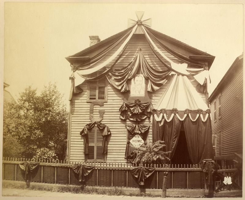 The house decorated in mourning by the GAR (Grand Army of the Republic) at the time of Grant's death.