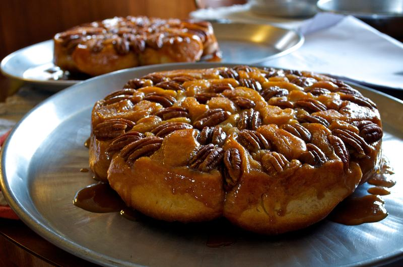 A sticky bun on a plate