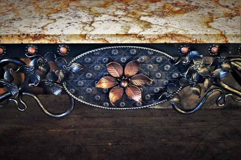 Detail of a Sanderson Iron table.