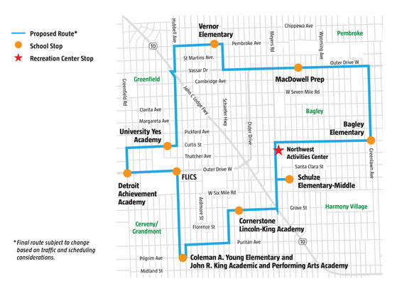 A map of the GOAL line bus route.