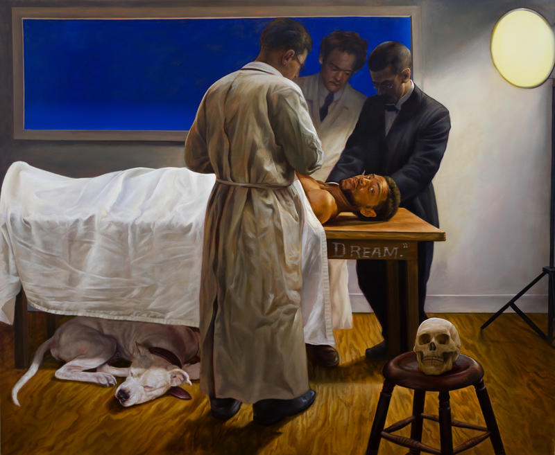 painting of man on table with doctors above him