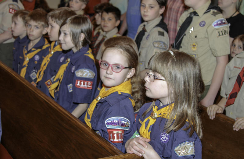 Row of girls at ceremony
