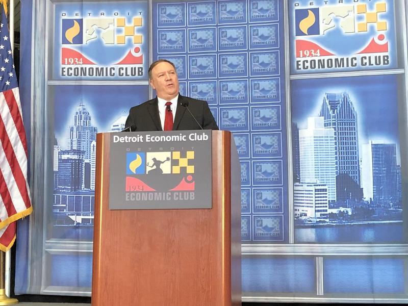 U.S. Secretary of State Mike Pompeo at the Detroit Economic Club.