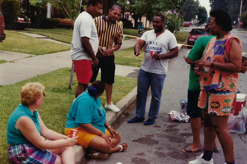 Neighbors on Bedford attend the block club party in the 1990s.