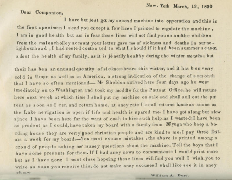 William Austin Burt first used his typographer to write a letter to his wife