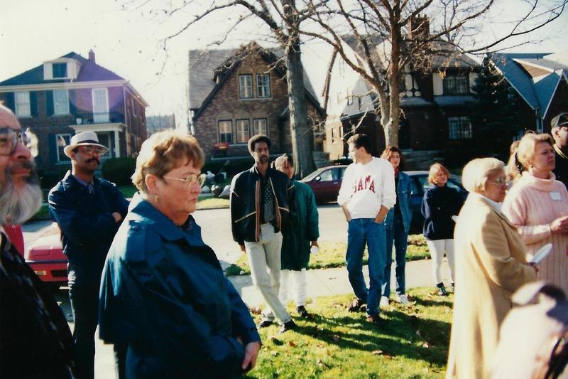 Earl Jones (in white sweatshirt) with his neighbors.