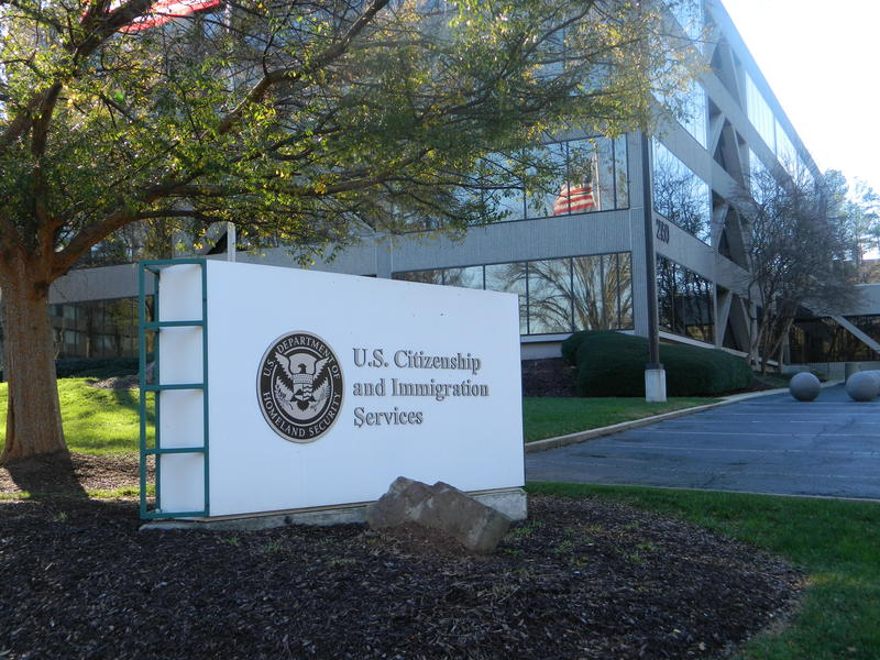 picture of the sign outside U.S. Citizenship and Immigration Services