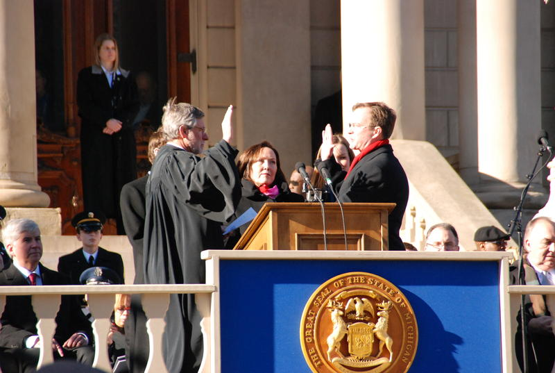 Bill Schuette getting sworn in as attorney general.