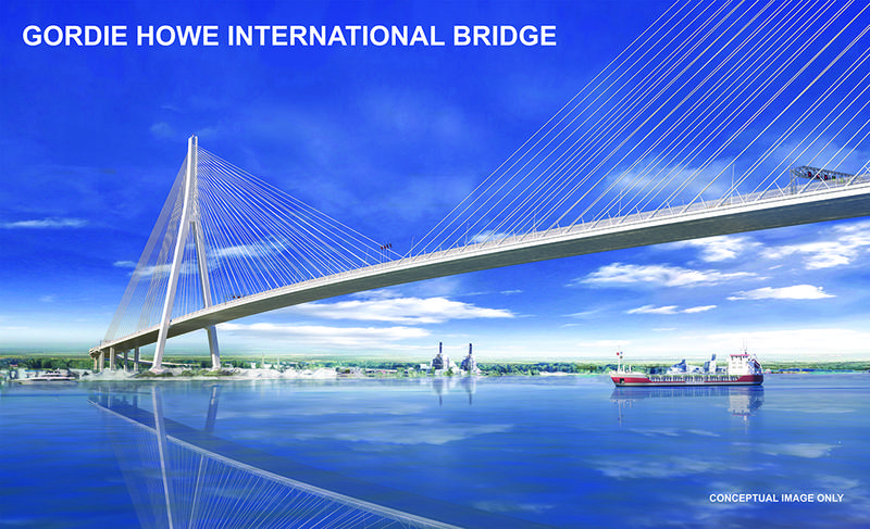 The latest rendering of the Gordie Howe International Bridge.
