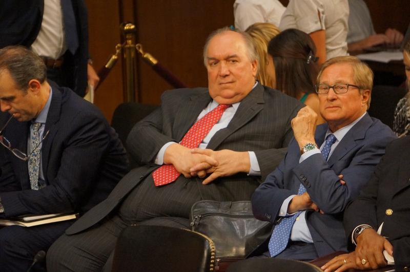 John Engler at a hearing with U.S. senators