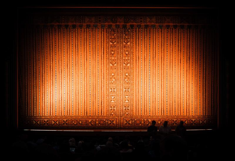 Theater lights on curtains