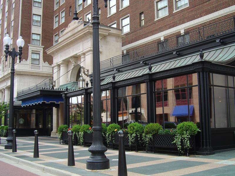 The metalwork of the awning and atrium at the Amway Grand Plaza Hotel in Grand Rapids is the work of the Fidler Furniture Company.