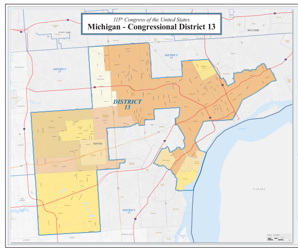 a map of Michigan's 13th Congressional district