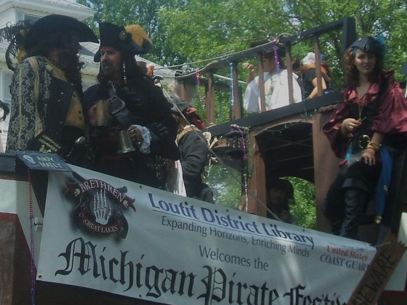 Pirates on a ship at the Michigan Pirate Festival