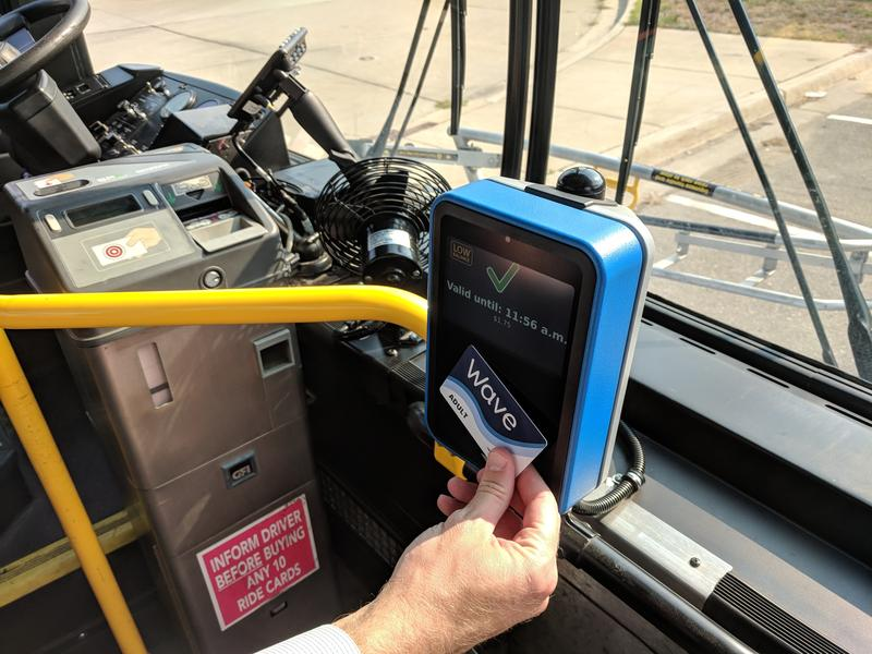 Wave card being used on a bus in Grand Rapids
