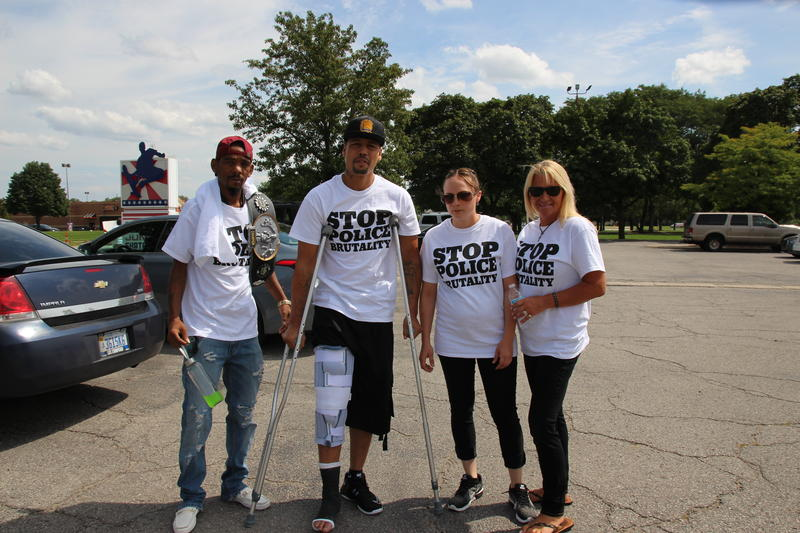 Raymurez Brown (on crutches) with Angela Martin, Nicole Skidmore, and Kelvin Williams (right to left)