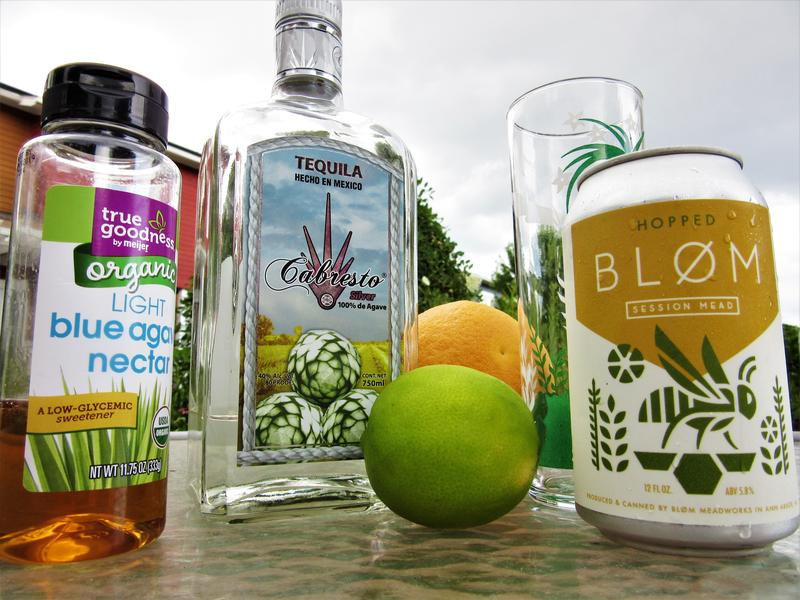 The ingredients for the Blooming Paloma.