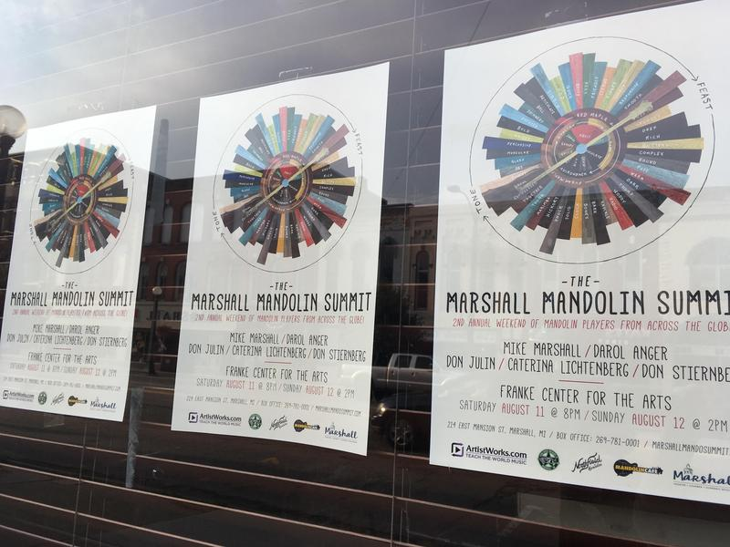 posters on a window for the Marshall Mandolin Summit