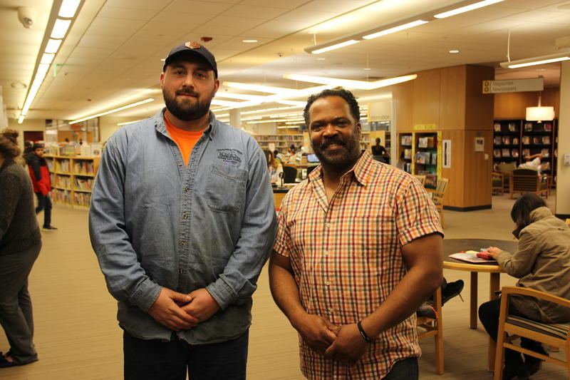 Kyle and Bryce at a library