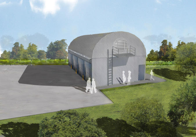 An architectural rendering of the Detroit Zoo biodigester.