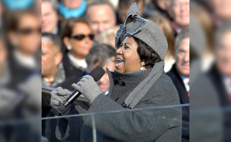 "Aretha Franklin sings ""My Country Tis of Thee"" at Barack Obama's 2009 inauguration."