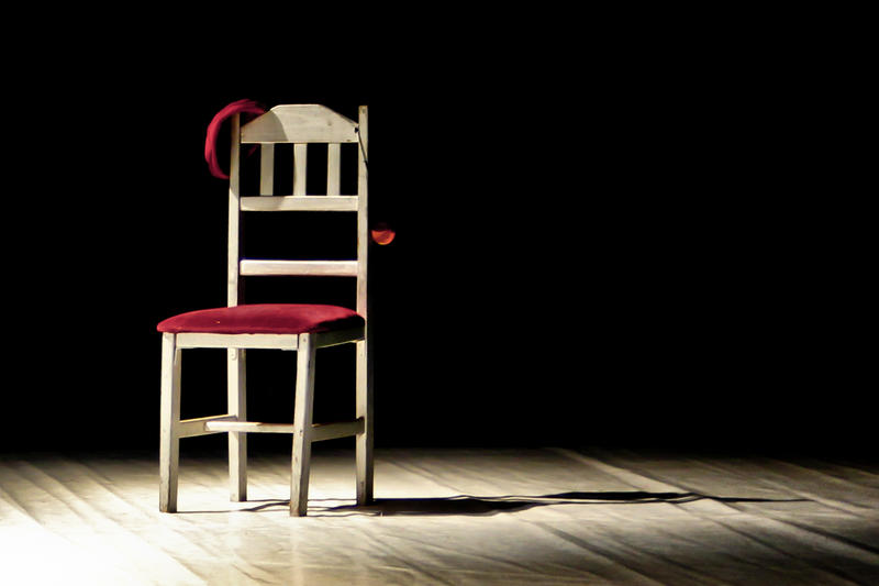 a chair on a stage