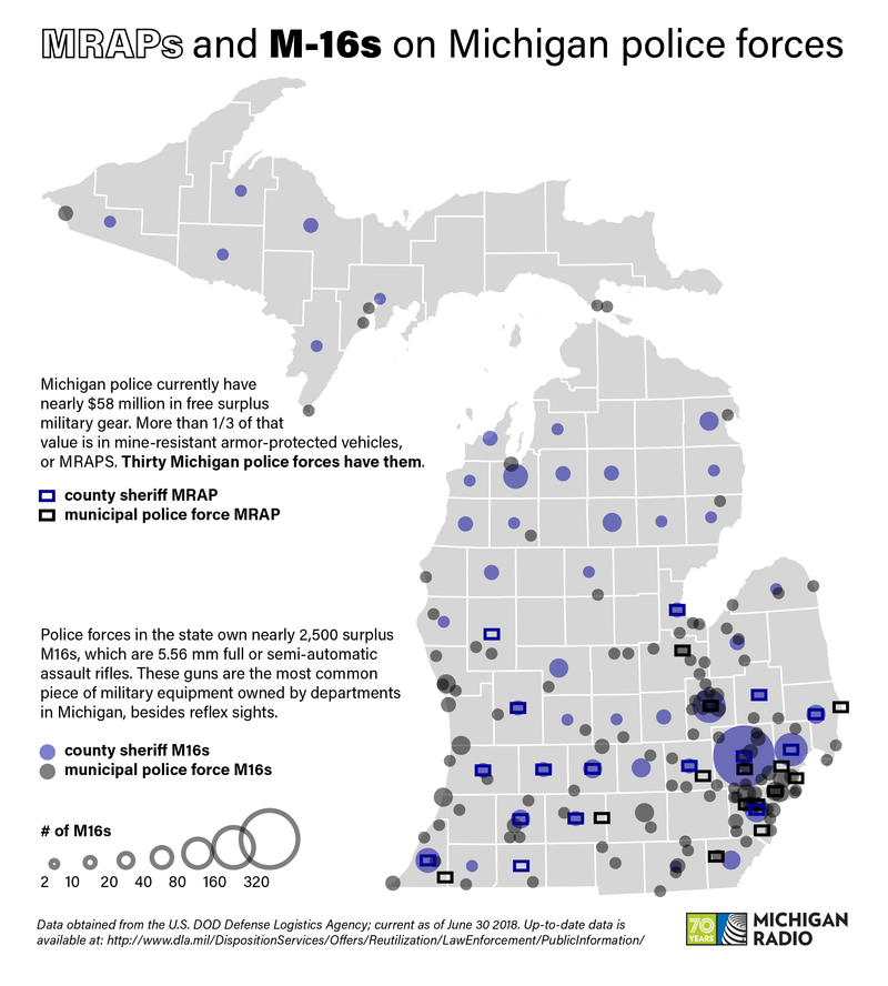 A map shows the location of MRAP vehicles and M16 firearms that have been obtained by local police departments in the state of Michigan.