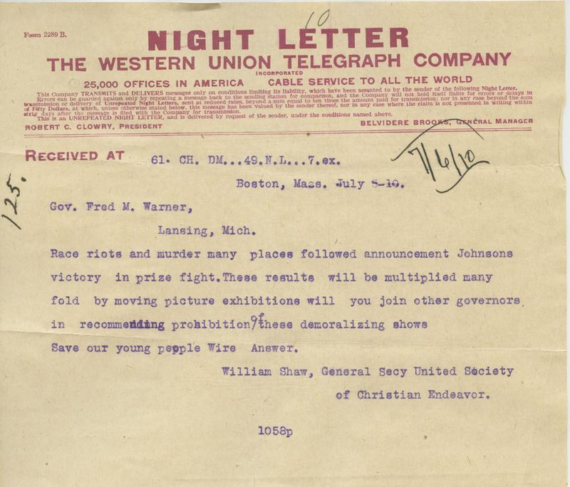A letter urging the governor to suppress the film