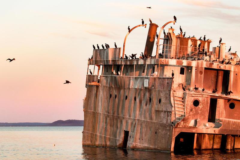 Wreck of the Francisco Morazan at sunset