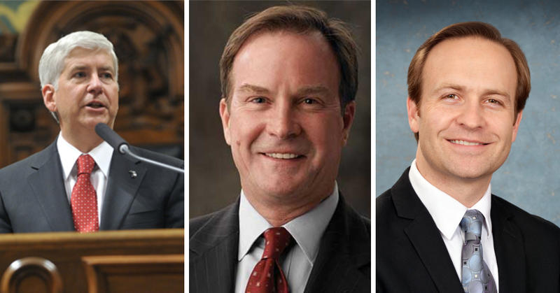 Rick Snyder, Bill Schuette, Brian Calley headshots