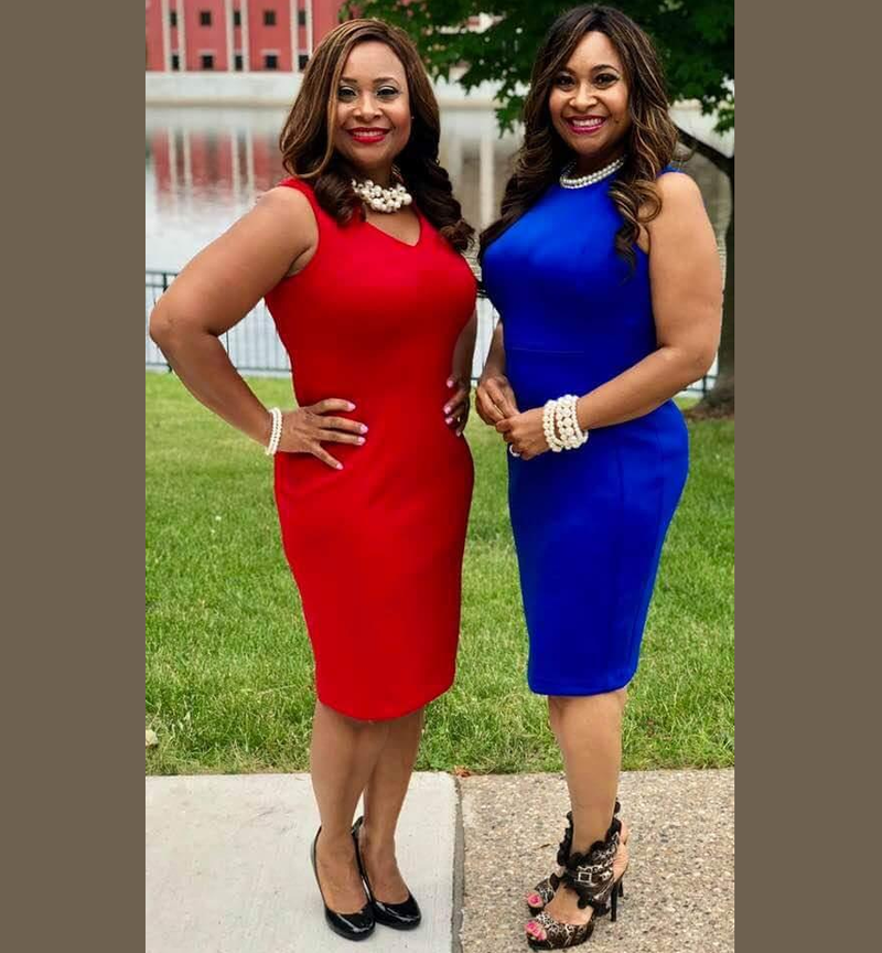 tyson and sparks together in red and blue dress