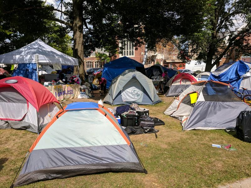 Protesters have been camped at Bronson Park in downtown Kalamazoo since August 19.