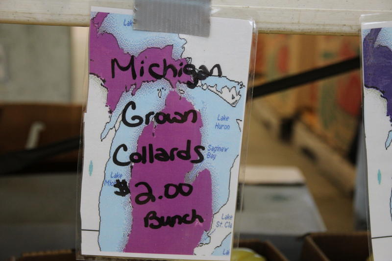 sign that says Michigan grown collards