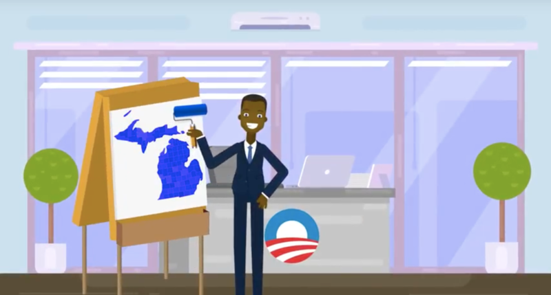 Screenshot from a attack ad on the redistricting proposal