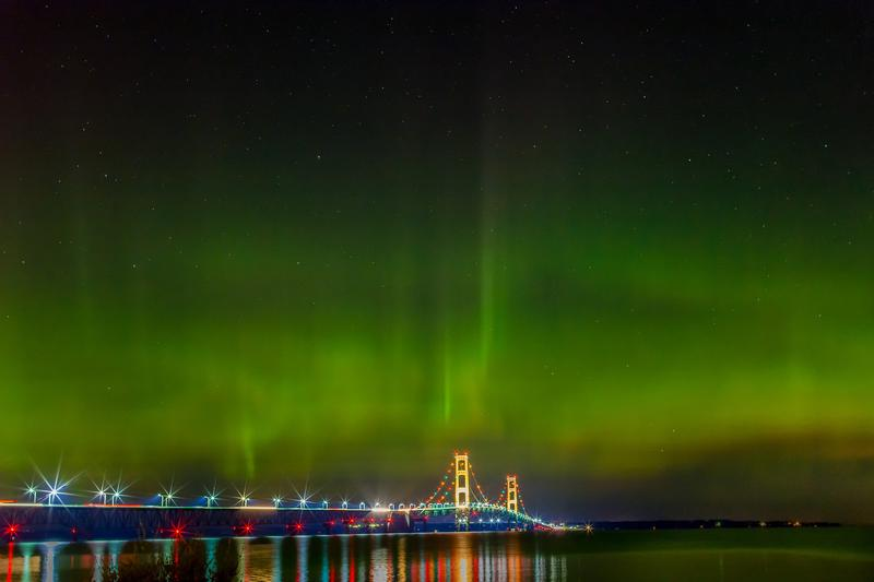 northern lights above the mackinac bridge
